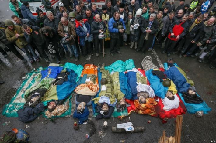 Вшанування протестувальниками загиблих героїв Майдану, 20.02.2014